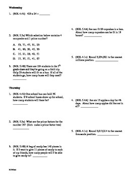 5th Grade Math Daily Review Bundle Weeks 6-10