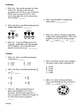 5th Grade Math Daily Review (27 weeks)