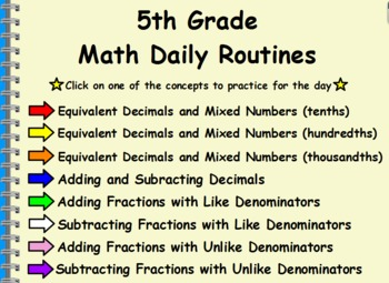 5th Grade Math Daily Routines Flipchart