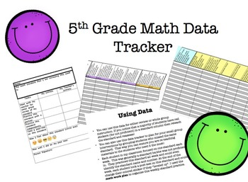 5th Grade Math Data Tracker For Entire Year's Math Common Core Standards