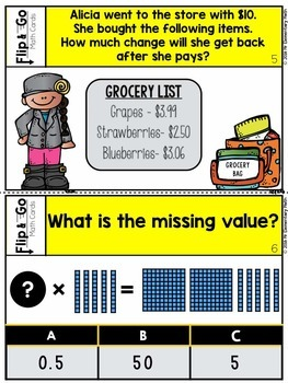 Adding and Subtracting Decimals Multiplying and Dividing Decimals Task Cards