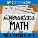 5th Grade Math Differentiated Skill Sheets BUNDLE {Common