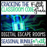 5th Grade Seasonal Math Digital Escape Room Bundle Distance Learning