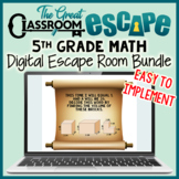 5th Grade Math Digital Escape Room Bundle for In Person or Virtual Learning