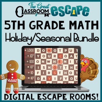 5th Grade Math Digital Escape Rooms Holiday & Seasonal Bundle -Distance Learning