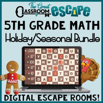 5th Grade Math Digital Escape Rooms Holiday & Seasonal Bundle -Distance Learning