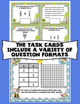 5th Grade Math Digital Task Cards: 5th Grade End of the Year Math Review Bundle