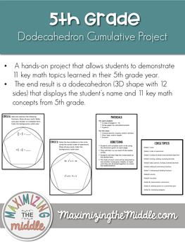 5th Grade Math Dodecahedron Cumulative Project