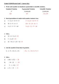 Everyday Math 5th Grade Unit 7 Pretest