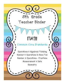 5th Grade Math & ELA Binder Covers - Bundle Pack