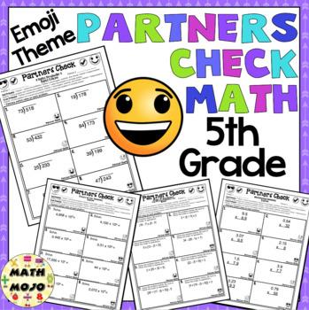 5th Grade Math: Emoji Theme Partners Check