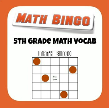 5th Grade Math End of Year Test Prep Vocabulary Bingo Game