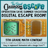 5th Grade Math End of the Year Digital Escape Room - Distance Learning!