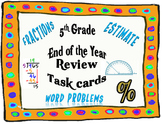 5th Grade Math End-of-the-Year Review Task Cards