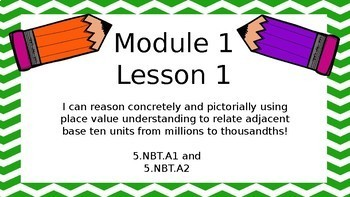5th Grade Engage NY/Eureka Math Module 1 Topic A PowerPoint