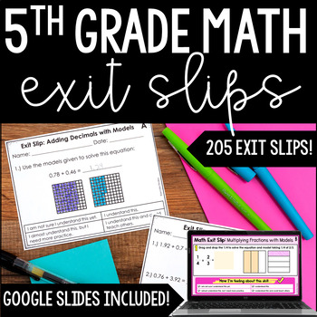 5th Grade Math Exit Slips   All Standards