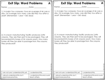 5th Grade Math Exit Slips - with Digital Math Exit Slips - Distance Learning