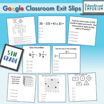 5th Grade Math Exit Slips Digital and Paper MEGA Bundle: Google and PDF Tickets