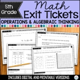 5th Grade Math Exit Tickets Operations and Algebraic Thinking