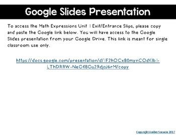 5th Grade Math Expressions Unit 1 Digital Exit Slips