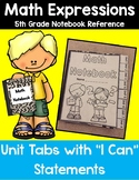 5th Grade Math Expressions Notebook Tabs