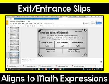 5th Grade Math Expressions Unit 2 Digital Exit Slips