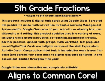 5th Grade Math Expressions Unit 3 Digital Task Cards for Google Classroom