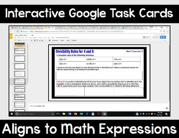 5th Grade Math Expressions Unit 5 Digital Task Cards for Google Classroom