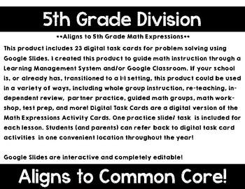 5th Grade Math Expressions Unit 6 Digital Task Cards