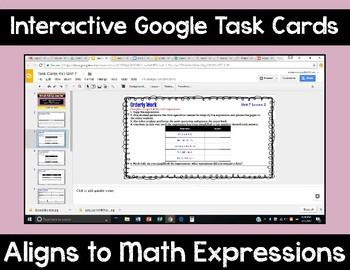 5th Grade Math Expressions Unit 7 Digital Task Cards