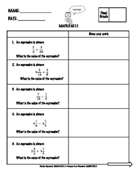 5th Grade Math FSA Assessment for Numbers and Operations Fractions-NF Bundle