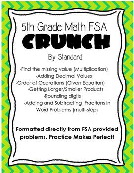 5th Grade Math FSA Crunch: Problems by Standard