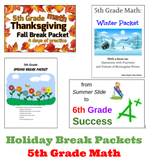 5th Grade Math Fall/Winter/Spring/Summer Break Packet Bundle!