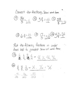 5th Grade Math Fraction exam