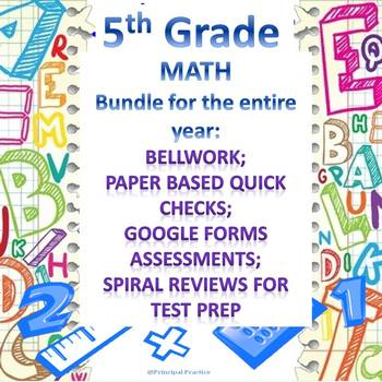 5th Grade Math Full Year Bundle with Bellwork, Quick Checks, and Spiral Reviews