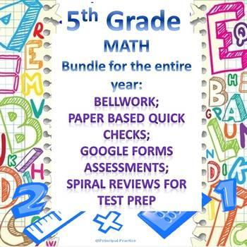 5th Grade Math Bundle with Bellwork, Homework, Quick Checks, and Spiral Reviews
