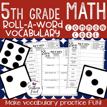 5th Grade Math Fun Interactive Vocabulary Dice Activity - EDITABLE