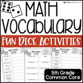 5th Grade Math Fun Interactive Vocabulary Dice Activity - EDITABLE