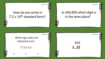 """5th Grade Math Center """"Skills and Test Prep Review Game"""""""