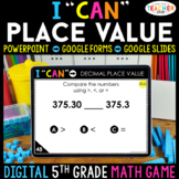 5th Grade Math Game DIGITAL   Decimal Place Value   Distan