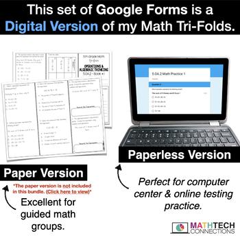 5th Grade Math Google FORMS - Operations & Algebraic Thinking : 9 Quizzes