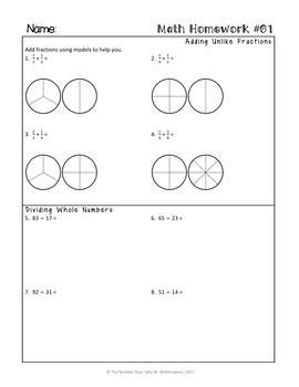 5th Grade Math Homework for the Entire Year!  5th Grade Morning Work or Warm Ups
