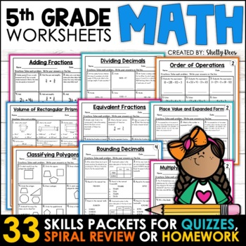 5th Grade Math Homework for the Year Distance Learning