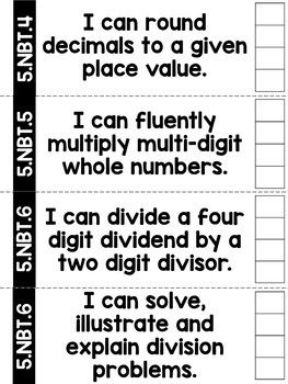 5th Grade Math I Can Statement Punch Cards