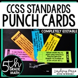 5th Grade Math Common Core I Can Statement Punch Cards