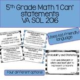 """5th Grade Math """"I Can"""" Statements - 2016 VA SOL"""