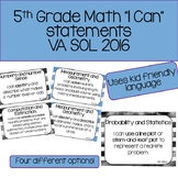 "5th Grade Math ""I Can"" Statements - 2016 VA SOL"