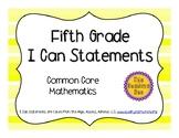 5th Grade Common Core Math I Can Statements