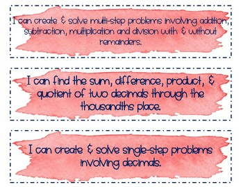 "5th Grade Math ""I Can"" Statements"