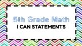 5th Grade Math I Can Statements (CCSS)